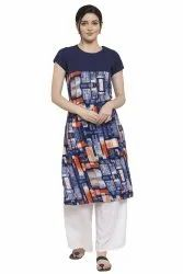 Women Printed crepe straight Kurta( Multy)