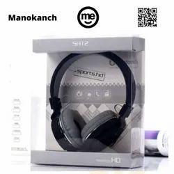 Black Plastic Sh-12 Overhead Boom Wireless Headset