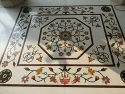 Floral Designed White Marble Flooring Service, in World Wide