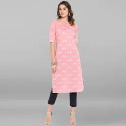 Janasya Women's Pink Pure Cotton Kurta (JNE3441)