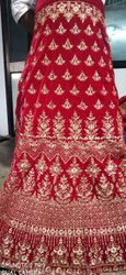 Lehanga Hosiery Red Embroidery Bridal Lehenga, Size: Large, With Blouse
