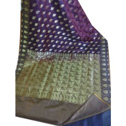 Party Wear Printed Banarasi Silk Saree, 6 m (with blouse piece)