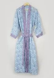 Ladies Hand Block Printed Kimono Dress
