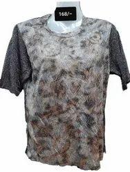 Multicolor Ladies Printed Round Neck T Shirt