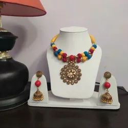 Multicolor Artificial Necklace Set With Earring, Size: Standard