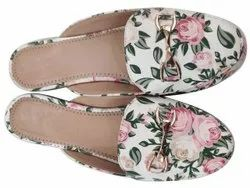 Mules White Printed Half Foot Fitted Belly, Size: 35 - 42