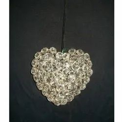 Nickel Plated Crystal Heart, For Christmas Hanging, Dia 3 Inch