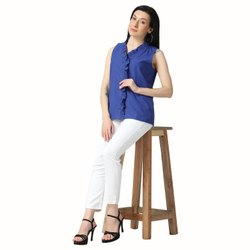 Female Blue Sleeveless Ruffle Neck Party Western Cotton Top, Size: S-XL