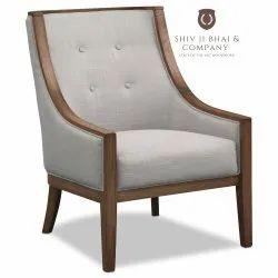 Teak Wood Grey Modern Wooden Single Seater Sofa