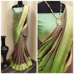 Party Wear Plain Sana Silk Saree, With Blouse Piece, 5.5 m (Separate Blouse Piece)