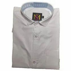 Apple Plain Men White Cotton Casual Shirt, Size: 38