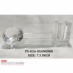 Long Crystal Glass Diamond Visiting Pen Holder Stand