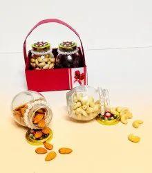 Red Designer Dry Fruit Hamper Basket