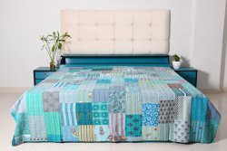 Ethnic Printed Patchwork Kantha Quilt Boho Bedding Throw Cotton Handmade Patchwork Bedspread