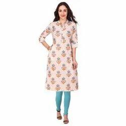 Women Embellished Cotton Blend Straight Kurta  (Beige)