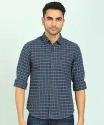 Collar Neck Mens Checks Cotton Shirts, Hand Wash, Size: M-xxl