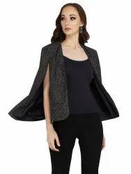 Black Shimmer Stylish Jacket, Age Group: 30-50