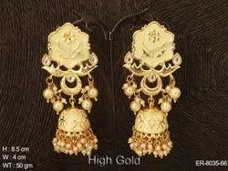 Crescent Moon Jhumki Style Antique Earrings