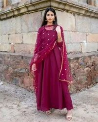Straight 3/4th Sleeve Kurtis with Dupatta