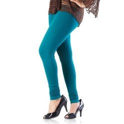 Cotton Churidar Ladies Sea Blue Leggings, Size: Free Size