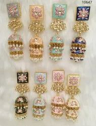 Meenakari Pearl kundan Designer Earrings