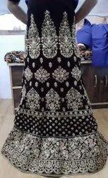 Wedding Wear Machine Navy Blue Embroidery Bridal Lehenga, Size: Free Size, 2.5
