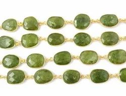 Vessonite Gold Plated Gemstone Bezel Connector Chain