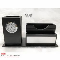 Black Wood Pen Stand with Table Top Pen Holder Clock
