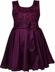 Party Wear Purple Girls Satin Frock, Age Group: Upto 12 Years