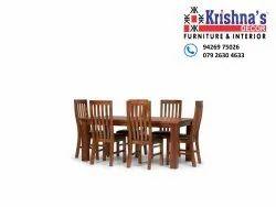 Krishna's Decor Brown six seater dining set, Size: 5 ' * 3 ', Size/Dimension: 5 ' * 3'