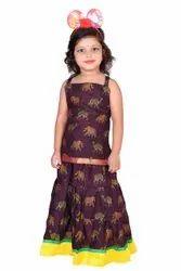 Wedding Wear Stitched Animal Printed Brown Lehengas Choli