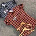 Regular Fit Mens Check Casual Cotton Shirt, Size: S-xxl