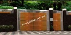 Stainless Steel SS Modern Gate, For Residential, Size: 9.5x4.5 Feet
