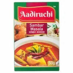 Aadiruchi Sambar Masala, Packaging Size: 50 g, Packaging Type: Box