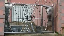 Silver Stainless Steel Sliding Gate