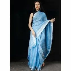 Nirvana Fashions Party wear Ladies Traditional Linen Saree, 6.3 m (with blouse piece)
