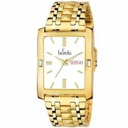 Bezelo Men White Dial Golden Wrist Watches, Model Name/Number: GSQ-22926-B-DD