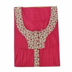 55 Cotton Embroidered Ladies Fleet Nighty, XXL