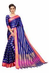 ANK Enterprise Festive Wear Designer Soft Satin Silk Saree, 6.3 m (with blouse piece)
