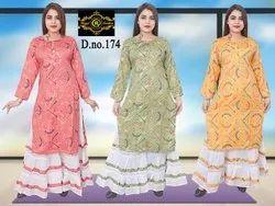 Full Sleeve Ladies Fancy Rayon Sharara Suit, Machine wash, Size: Xl