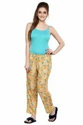 Yellow Casual Wear Prettify Women's Rayon Printed Pyjamas