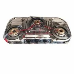 Oval Three Burner Gas Stove, For Kitchen