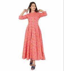 Ladies Printed Cotton Long Western Dress, Size: M-XXL