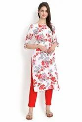 Women Printed Straight Crepe Kurta