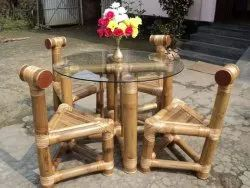 Yellow Bamboo Triangle Chair And Tea Table Set