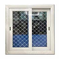 Modern Powder Coated Three Track Aluminium Sliding Window, For Home