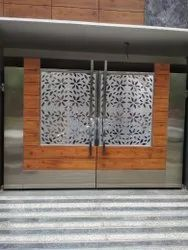Stainless Steel Laser Cutting Main Gate, For Exterior, Thickness: 15 Mm