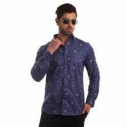 Full Sleeves Check Finnoy Premium Giza Cotton Printed Shirt, Size: 38 - 44