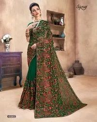Green Color Kashmiri Embroidery Work Saree