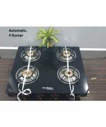 Toughened Glass Four Burner Automatic Gas Stove, For Kitchen